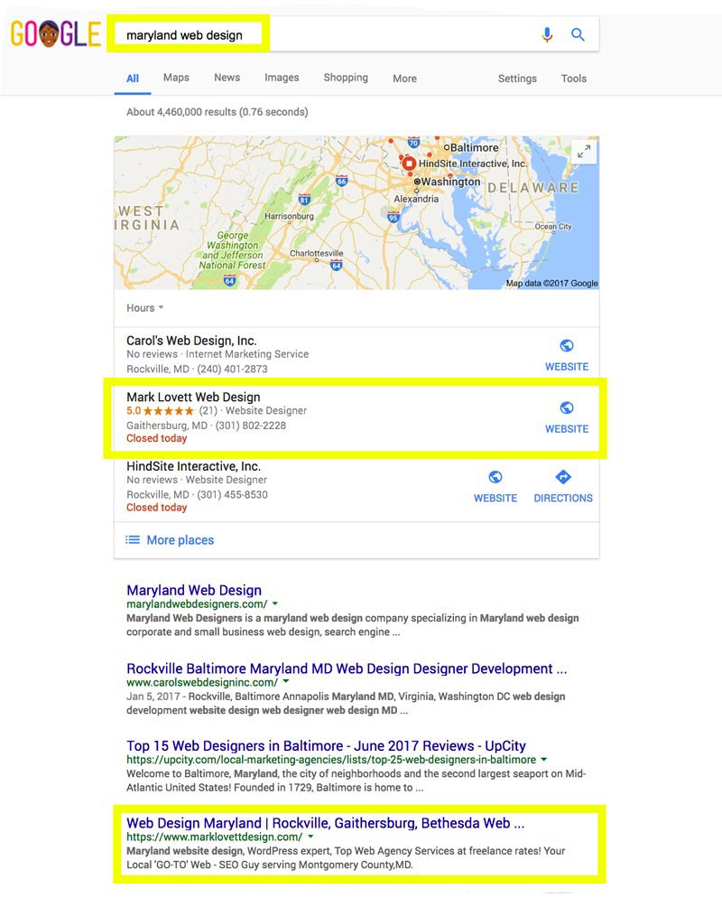 First Page Google Search Results screenshot for maryland web design