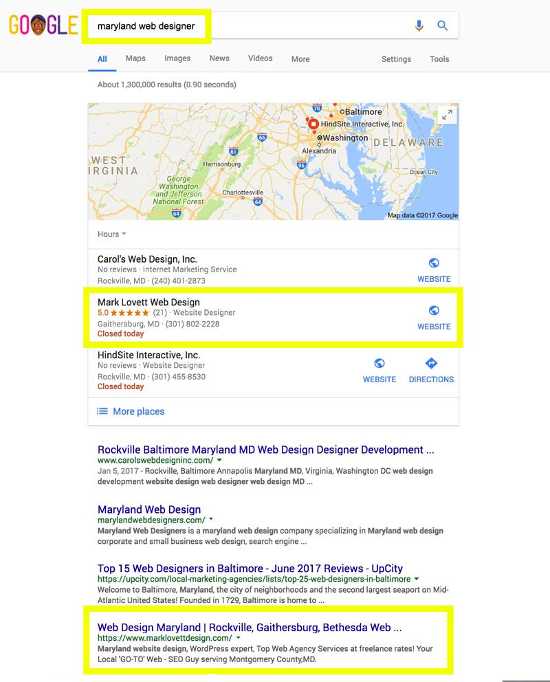 image First Page Google Search Results screenshot for maryland web designer