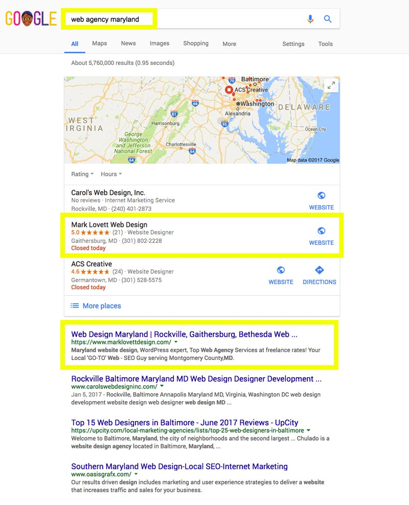 First Page Google Search Results screenshot for web agency maryland
