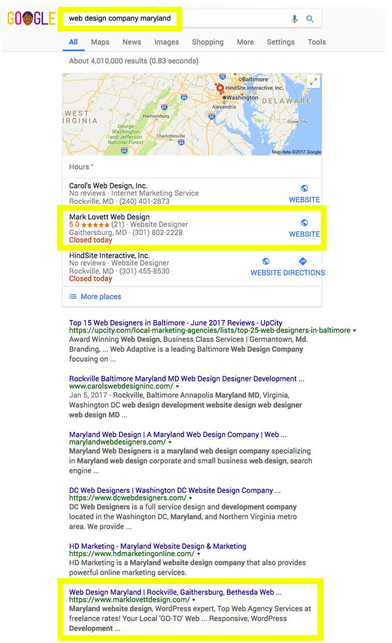 First Page Google Search Results Screenshot For Web Design Company Bethesda Seo Gold