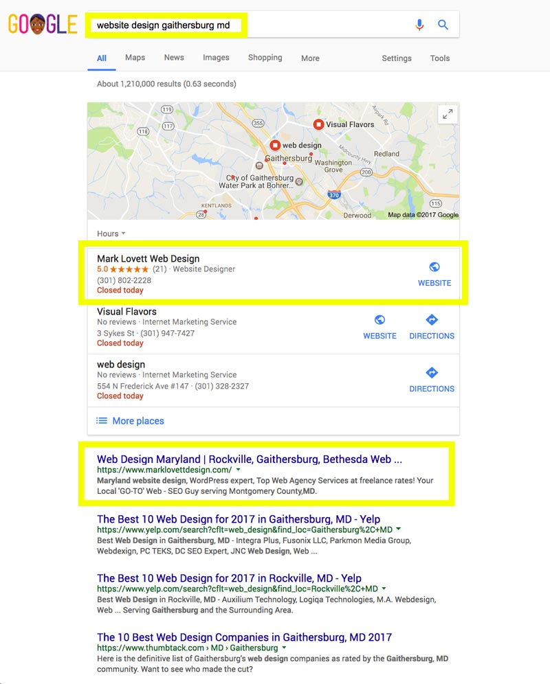 image First Page Google Search Results screenshot for web design gaithersburg