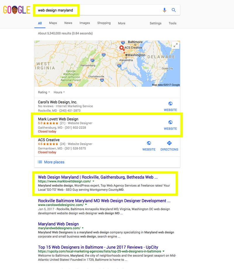 image First Page Google Search Results screenshot for web design maryland
