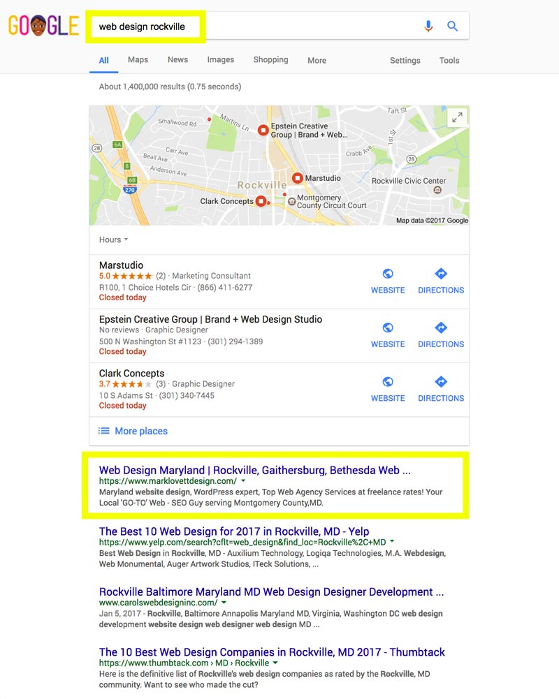 image First Page Google Search Results screenshot for web design rockville