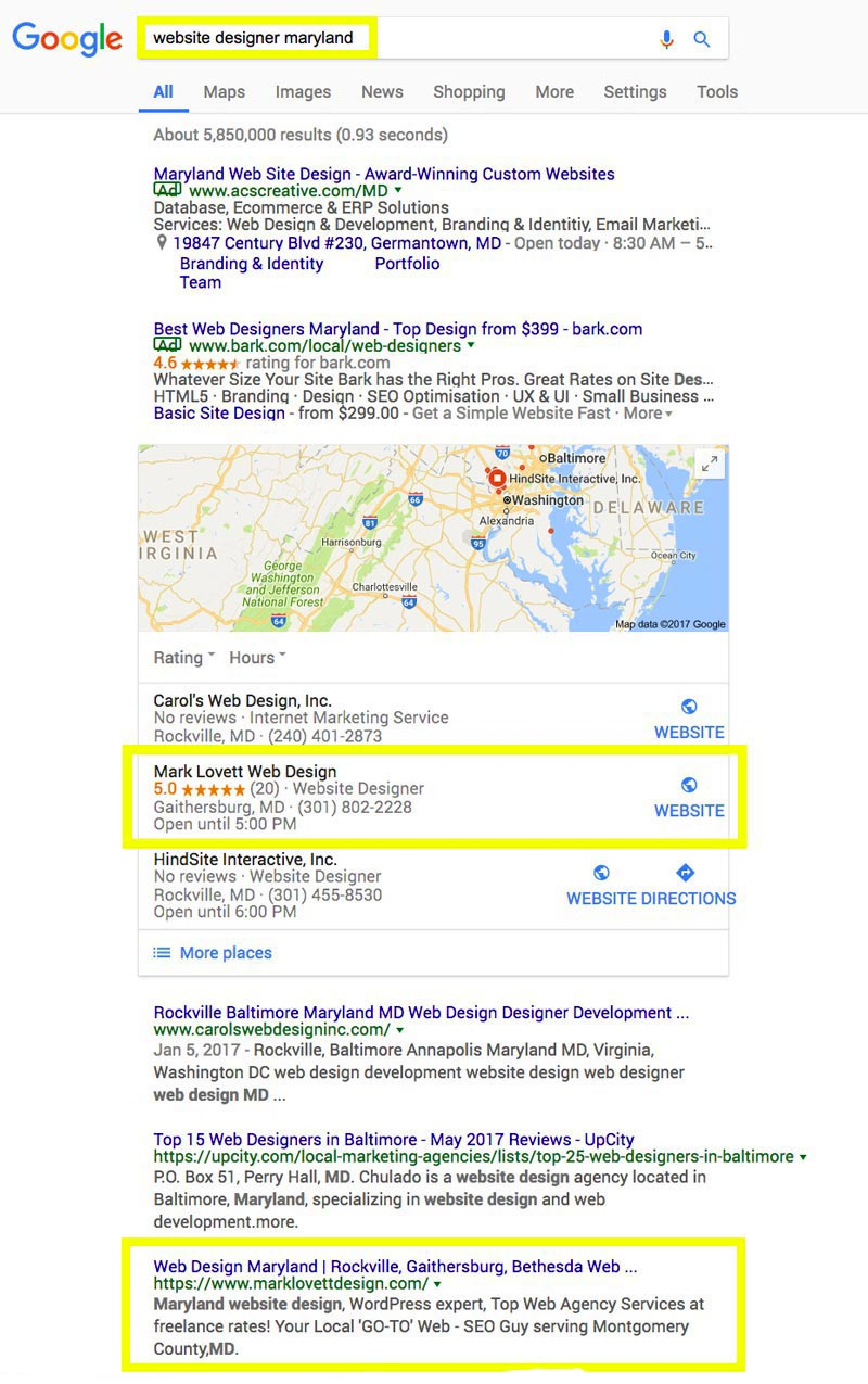 image First Page Google Search Results screenshot for website designer maryland