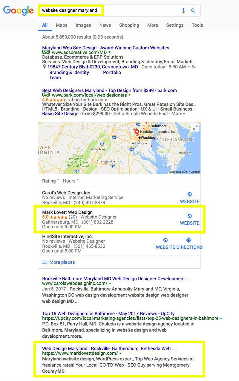 Maryland Website Designer Google First Page | SEO Gold