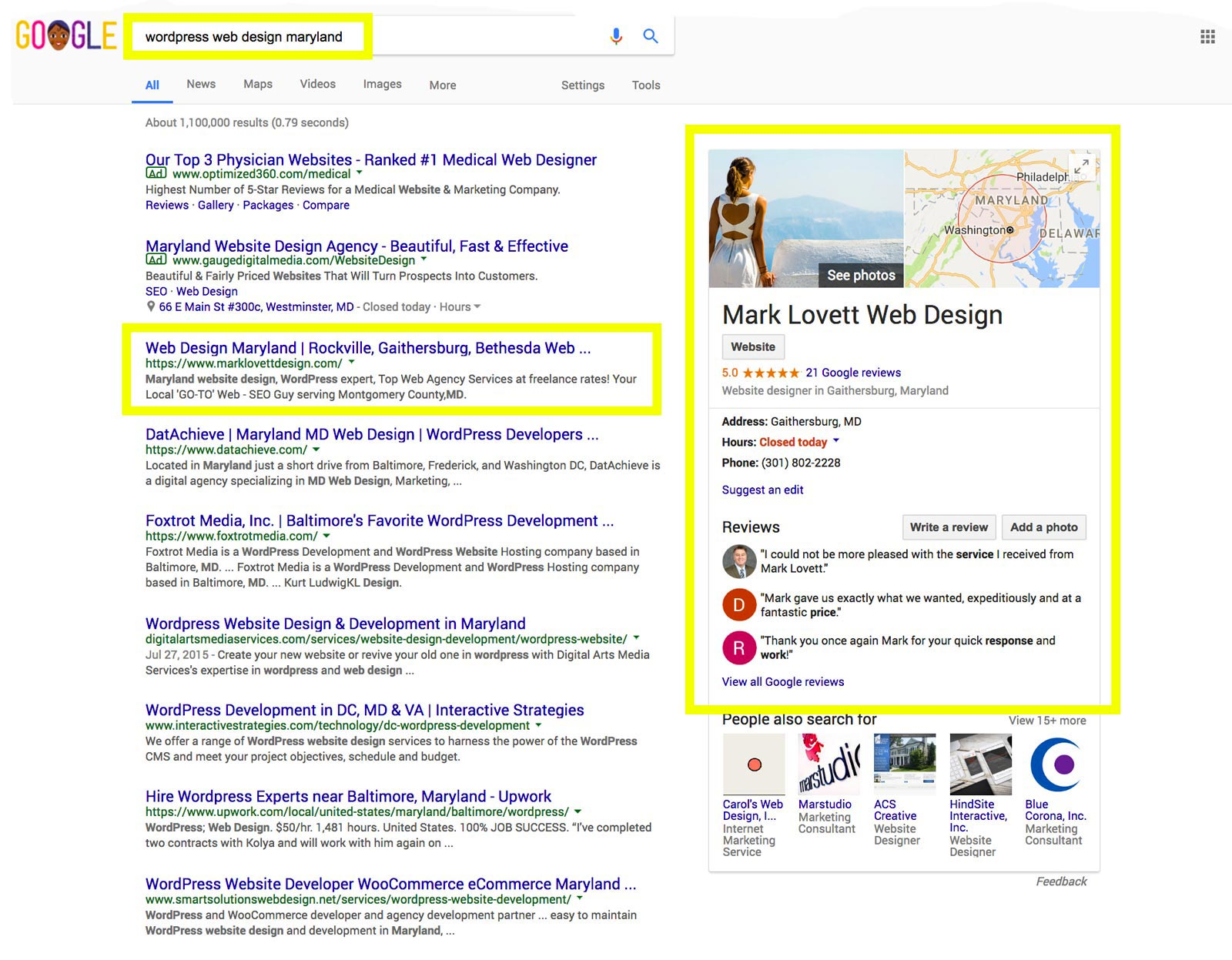 image First Page Google Search Results screenshot for wordpress web design maryland